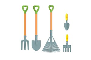 Set of working tools for gardening vector illustration isolated