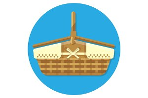 Wooden basket for summer picnics vector illustration isolated