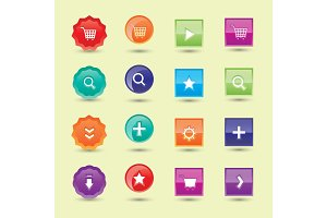 Colorful website buttons design vector illustration glossy graphic label internet template banner.
