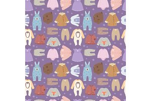 Vector baby clothes seamless pattern background