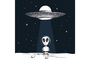 The arrival of an alien from UFO
