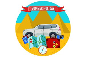 Summer holiday poster with travelling car, road map, passports