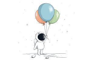 Cute spaceman keeps a balloons