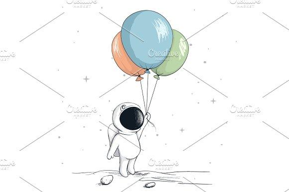 Cute Spaceman Keeps A Balloons