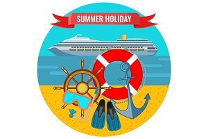 Summer holiday posters with travelling cruise liner, lifebuoy