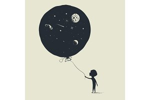 Little boy keeps a balloon with universe in him