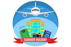 Summer holiday posters with travelling accessories, plane flying