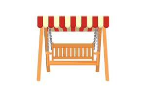 Garden wooden swing with striped awning vector illustration