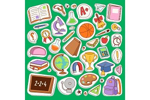 School icons vector set education collection