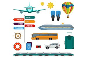 Set of summer holidays transport items vector illustration isolated
