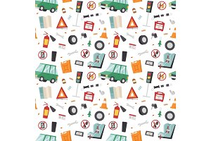 Auto transport motorist icon symbol vehicle equipment service car driver seamless pattern vector illustration.