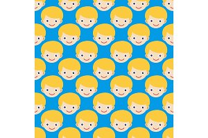 Boy face seamless pattern expression cute teenager cartoon character and happyness little kid flatvector illustration.