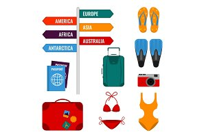 Summer holidays set with direction signs, luggage suitcases, swimming suits,