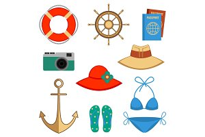 Summer holidays accessories vector illustration isolated on white