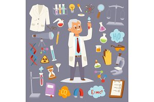Science man character professor lab icons vector illustration.