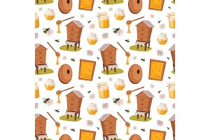 Apiary honey bee houses seamless pattern vector illustrations
