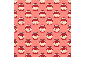 Girl face portrait expression cute teenager cartoon character little kid flat seamless pattern vector illustration.