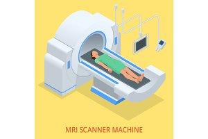 Magnetic resonance imaging MRI of the body. Flat isometric illustration. Medicine diagnostic concept