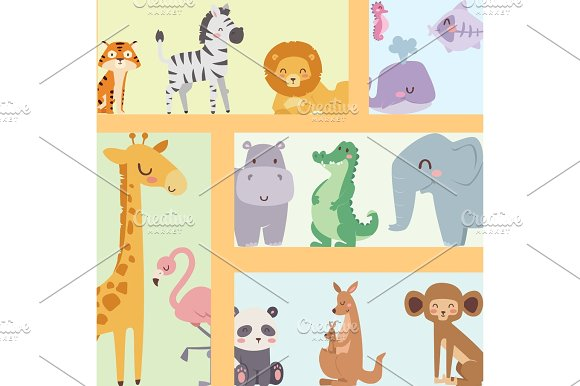 Cute Zoo Cartoon Animals Isolated Funny Wildlife Learn Cute Language And Tropical Nature Safari Mammal Jungle Tall Characters Vector Illustration