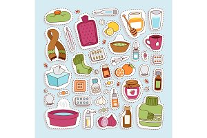 Flu influenza icons vector.