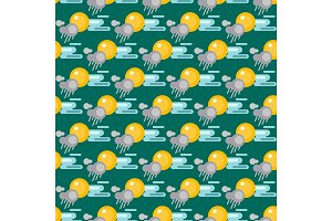 Weather seamless pattern vector illustration season design thunder temperature