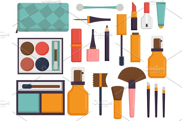 Makeup icons perfume mascara care brushes comb faced eyeshadow glamour female accessory vector.