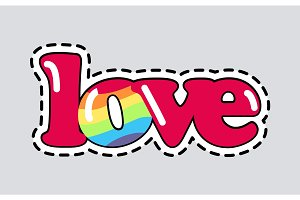Love. Cut it out. Patch. Isolated Romantic Icon