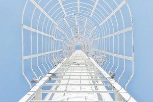 White iron stairway to heaven