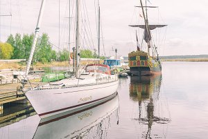 Vintage boat on the river