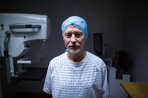 Portrait of patient in x-ray room