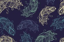 Vector seamless pattern with hand-dr