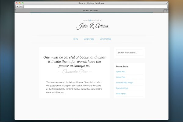 WordPress Minimal Themes: Eric Barnes - Responsive Minimal Notebook