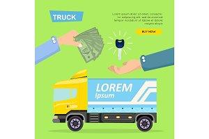 Buying Truck Online. Car Sale. Web Banner. Vector