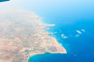 View from the plane window. Cyprus.