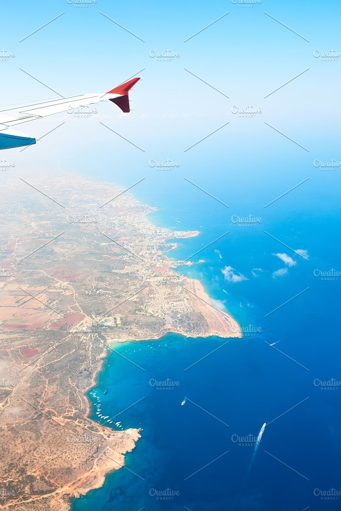 View from the plane window. Cyprus. - Transportation