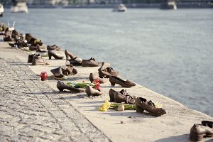 Shoes on the Danube embankment