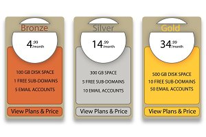 Web pricing table design for business