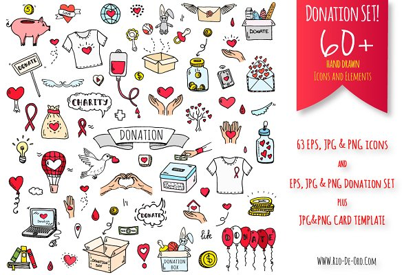 63 Donation hand drawn color icons!