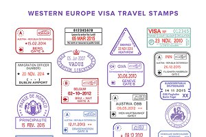 Western Europe passport stamps