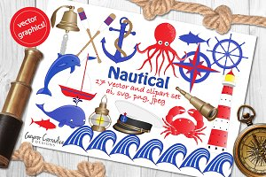 Nautical vector & clipart set