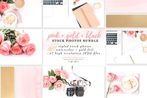Pink Gold Black Stock Photos Bundle