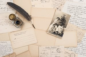 Old Letters and Vintage Postcard