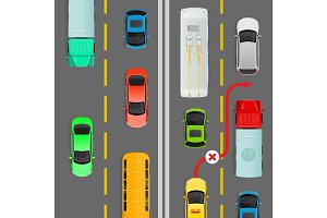 Overtaking in Dense Traffic Flow Vector Diagram
