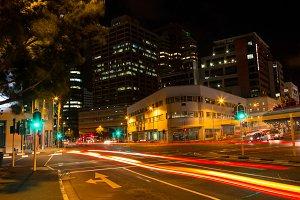 Long exposure of city street at night