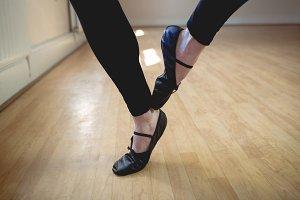 Ballet dancers feet performing ballet dance