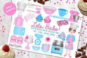 Lets bake clipart & vector set