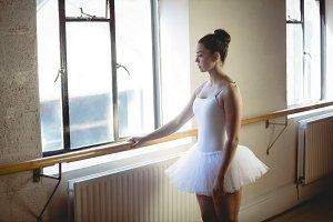 Ballerina holding the bar
