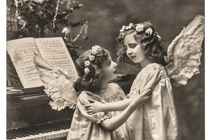 Sweet Angels. Vintage Postcard