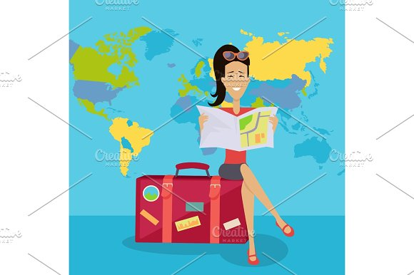 Smiling Brunette Woman Seating On Suitcase