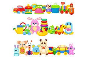 Set of Funny Children Toys on White Background